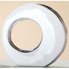 Vase mit Loch und silberner Glasur in Weiß, 5,2 x 25,5 x 24 cm