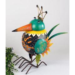 formano Windlicht Vogel aus Sunshine Metall mit grünem Kopf, 38 cm