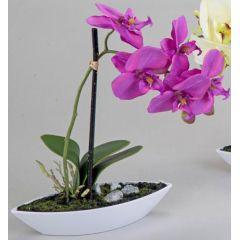 Wunderschöne Orchidee im Porzellanschiffchen, lila, 28 cm