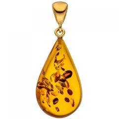 Anhänger Tropfen 925 Silber Gold vergoldet 1 Bernstein