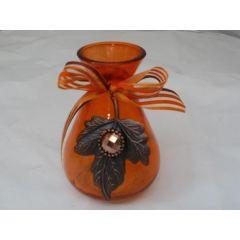 Vase in Orange aus Glas, 10,5 cm