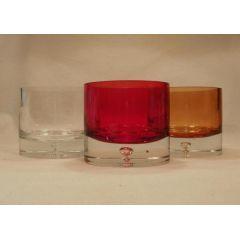 Moderne Kerzengläser in Rot, Orange-braun oder klar