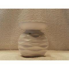 Duftlampe Wellen aus Keramik in Weiß 11,5 cm