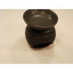Duftlampe aus Keramik in Schwarz, Wellen, 11,5 cm