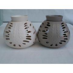Duftlampe aus Keramik in Taupe oder Altweiß, 15 cm