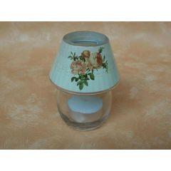 Glaslampe für Teelichter mit Rosen Dekor, 9 cm