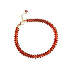 Armband-Bernstein vergoldet, orange rot