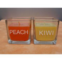 Kerze im Glas in Orange oder Gelb, 8 cm