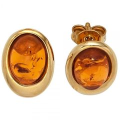 Ohrstecker oval 375 Gelbgold 2 Bernsteine orange Bernsteinohrringe