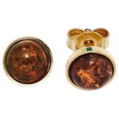 Ohrstecker rund 333 Gelbgold 2 Bernsteine orange Bernsteinohrringe
