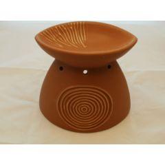 Duftlampe aus Keramik in Baun - bauchig 15,5 cm hoch