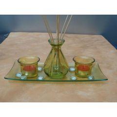 Dekoset für Raumduft aus grünem Glas