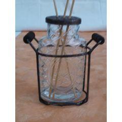 Raumduft Vase Nostalgie aus Glas im Metallgestell, 14 cm hoch