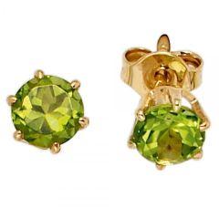 Ohrstecker rund 585 Gelbgold 2 Peridote grün Ohrringe Goldohrstecker