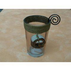 Teelichtglas mit Deko
