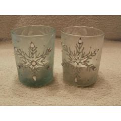2 Teelichtgläser Eiskristall in Blau