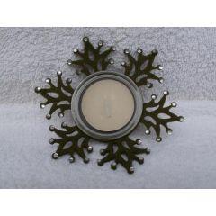 Teelichthalter Schneeflocke aus Glas und Filz 11,5 cm