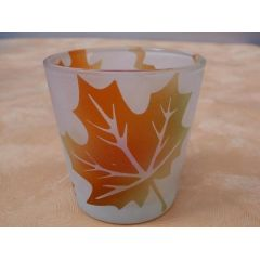 Kerzenglas Herbst 6,5 cm hoch