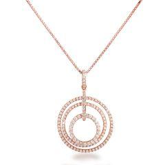 Halskette mit Anhänger rund aus 3 Ringen, 925 Silber rosegold, Zirkonia