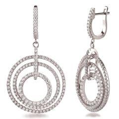 Lange runde Ohrringe mit 3 Ringen Ohrhänger aus 925 Silber rhodiniert und Zirkonia