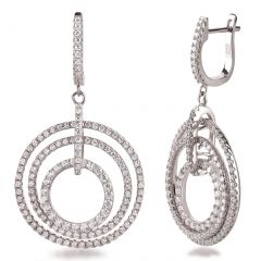 Lange runde Ohrringe 3 Ringe Ohrhänger 925 Silber rhodiniert
