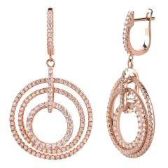 Große runde Ohrringe, Ohrhänger aus 925 Silber rosegold und Zirkonia