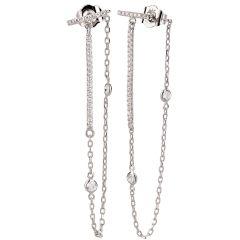 Lange Ohrringe aus 925 Silber Rhodium, Ohrhänger feine Kette und Zirkonia besetzte Silber-Elemente