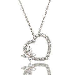 Halskette und Anhänger Herz mit Schmetterling, 925 Silber Rhodium