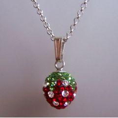 925 Silber Halskette mit Anhänger Glitzer Erdbeere