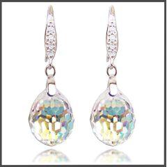925 Silber Ohrringe mit Swarovski® Kristall Tear Drop Crystal Aurora Boreale Ohrhänger
