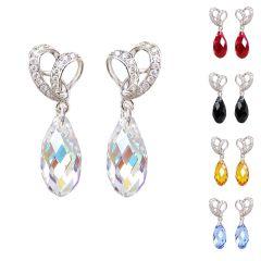 Herz Ohrstecker 925 Silber Rhodium mit Swarovski® Kristall Briolette hängend Farbwahl