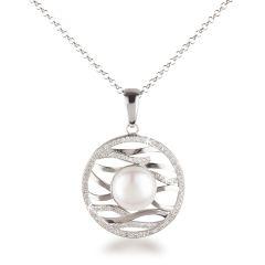 Runder Anhänger mit großer Süßwasser Zuchtperle, Fassung mit Zirkonia, 925 Silber Halskette, echte Perle