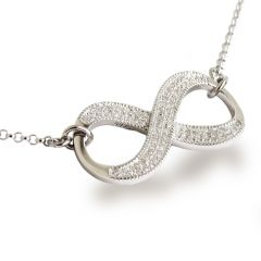 Infinity Halskette 925 Silber Rhodium 30mm Unendlichkeits Symbol mit Zirkonia
