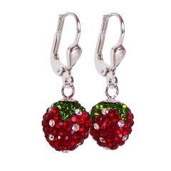 Ohrringe Erdbeere aus 925 Silber und glitzernden Zirkonia, Ohrhänger
