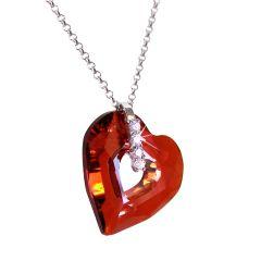 Halskette mit Swarovski® Kristall Herz Anhänger, 925 Silber Rhodium, Miss U Heart in Red Magma