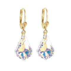 Vergoldete Ohrringe mit Swarovski® Kristall Barock Tropfen, 10/000 Gold-Doublé, Farbe: Crystal Aurora Boreale