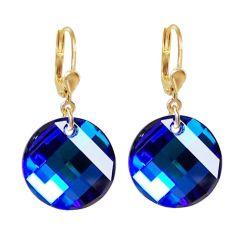 Vergoldete Ohrringe mit Swarovski® Kristall Twist blau, Ohrhänger 10/000 Gold-Doublé, Farbe: Bermuda Blue