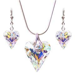Schmuckset Wild Heart 925 Silber mit Swarovski® Kristall Herz in Crystal Aurora Boreale