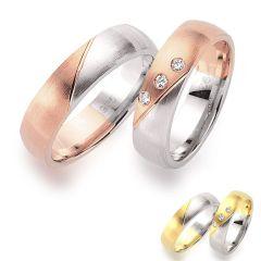 Edles Ringpaar aus rhodinierten Silber mit hochwertiger Teilvergoldung in Rose- oder Gelbgold