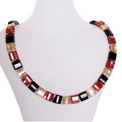 Collier Stairway, Halskette aus Swarovski® Kristall schwarz, golden shadow, red magma, 925 Silber