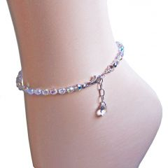 Funkelnde Fußkette aus Swarovski® Kristallperlen und 925 Silber, Farbe Crystal Aurora Boreale