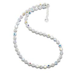 Halskette Crystal Aurora Boreale 6mm Swarovski® Kristallperlen