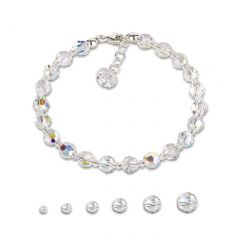 Funkelndes Armband aus crystalfarbenen Swarovski® Kristallperlen mit Aurora Boreale Effekt, verschiedene Perle