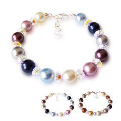Buntes Perlenarmband mit funkelnden Swarovski® Kristall und 925 Silberverschluss