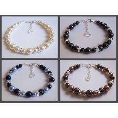 Perlenarmband mit glitzernden Swarovski® Kristall Strass-Elementen und 925 Silber