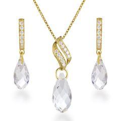Vergoldetes 925 Silber Schmuckset mit crystalfarbenen Kristallen von Swarovski®