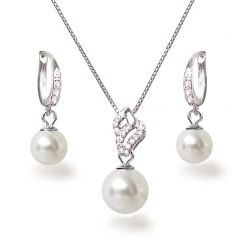 Dezentes Perlen Schmuckset aus 925 Silber rhodiniert