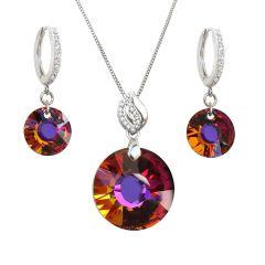 Schmuckset mit Swarovski® Sun Kristall in feurigen Farben, 925 Silber rhodiniert