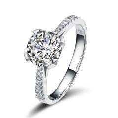 Damen-Ring 8mm großer Zirkonia weiß 925 Silber rhodiniert