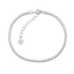 Tennisarmband Silber Armband rundherum mit Zirkonia besetzt